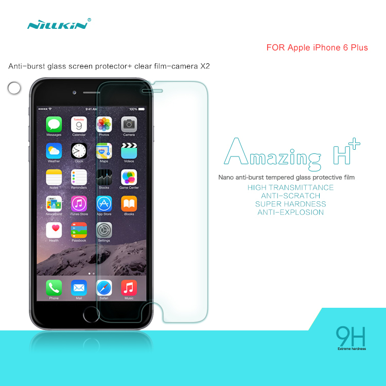 For Apple iPhone 6 Plus Tempered Glass Screen Protector (5.5inch) Original Nillkin Arc Edge H+ nano Protective Film(China (Mainland))