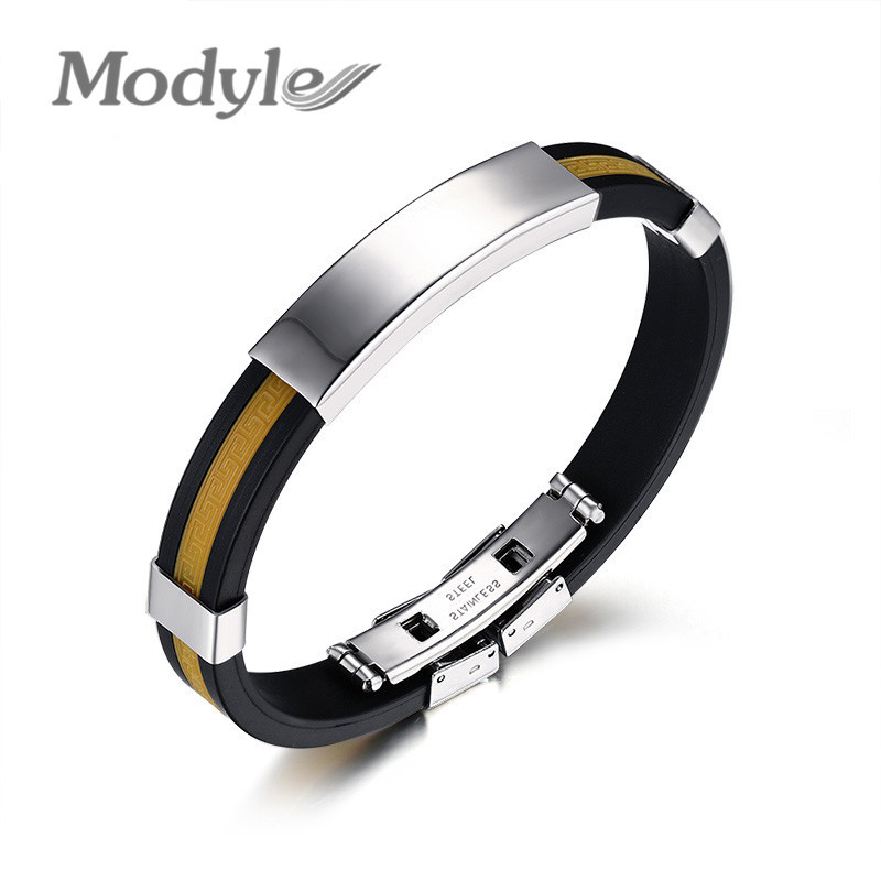 2016 New Fashion Men Jewelry 5 Colors Stainless Steel Bangle Silicone Wristband Bracelet for Men an Women(China (Mainland))