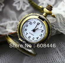 Steampunk Elegant Women gift Quartz Pocket Watch Small code birdcage bronze color Nostalgic FREE SHIPPING Necklace