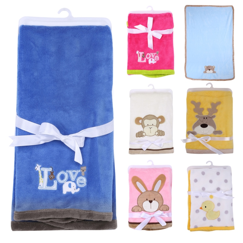 Lovely Cartoon Animal Soft Coral Fleece Baby Blanket For