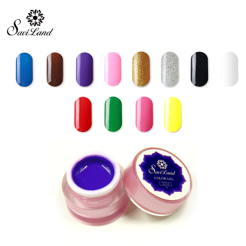 Saviland 1pcs Paint Drawn Glitter 12 Color Acrylic Nail Art UV Gel 3D Painting paint polish Nail Art Bio Gel polish(China (Mainland))