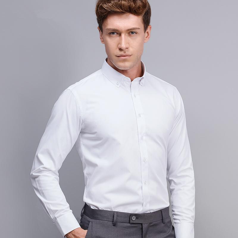summer 2016 men 39 s long sleeve white solid dress shirt