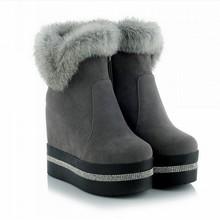 Botines de Piel de Conejo de la manera 2016 Marca Ocultos Plataformas Botas de Nieve Plataforma de Los Tacones Altos Botas Otoño Invierno Botas Zapatos de Mujer(China (Mainland))