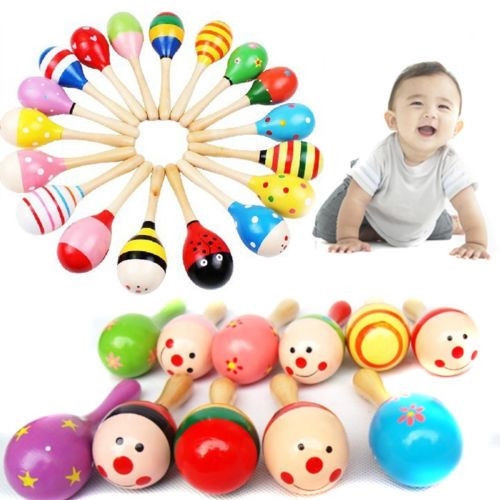 1X Kids Wooden Maraca Wood Rattles 1-2 years Educational Musical Party favor Child Baby Shaker Baby Rattles Toy Random Color(China (Mainland))