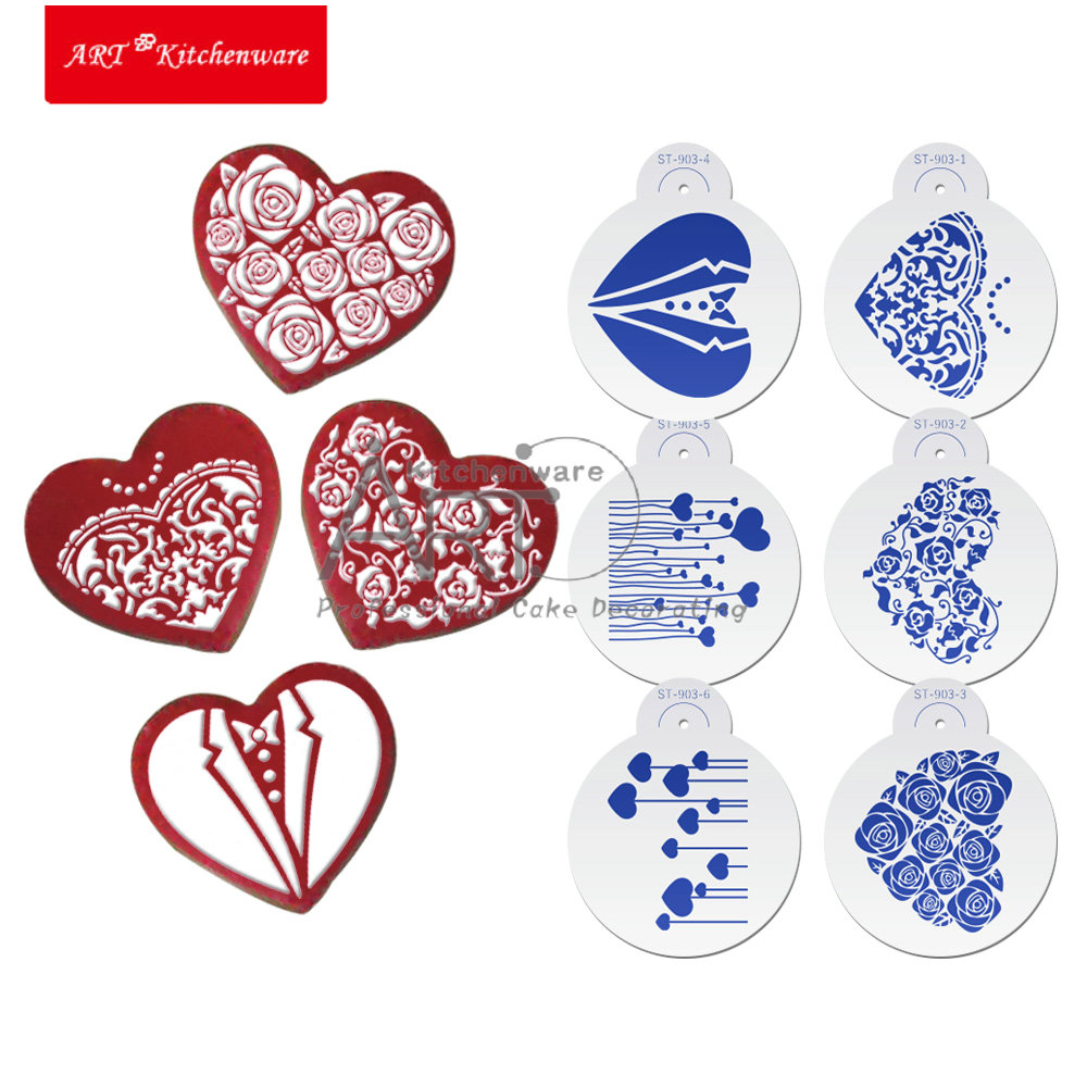6 Pcs Heart Cookie Stencil for Wedding Cake Stencil Tool Cupcake Stencil Cake Decorating Tool ST-903(China (Mainland))