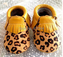 New style horsehair leopard baby fringe moccasins genuine leather prewalker toddlers/infants cow leather shoes 300pairs/lot(China (Mainland))