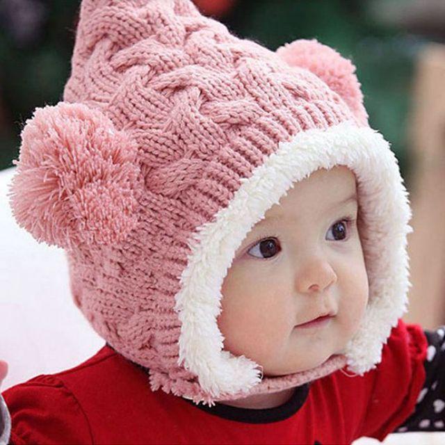 Отлично прекрасный шерсть зимняя шапка Kid ребенка смазливая двойные мячи девушка ...