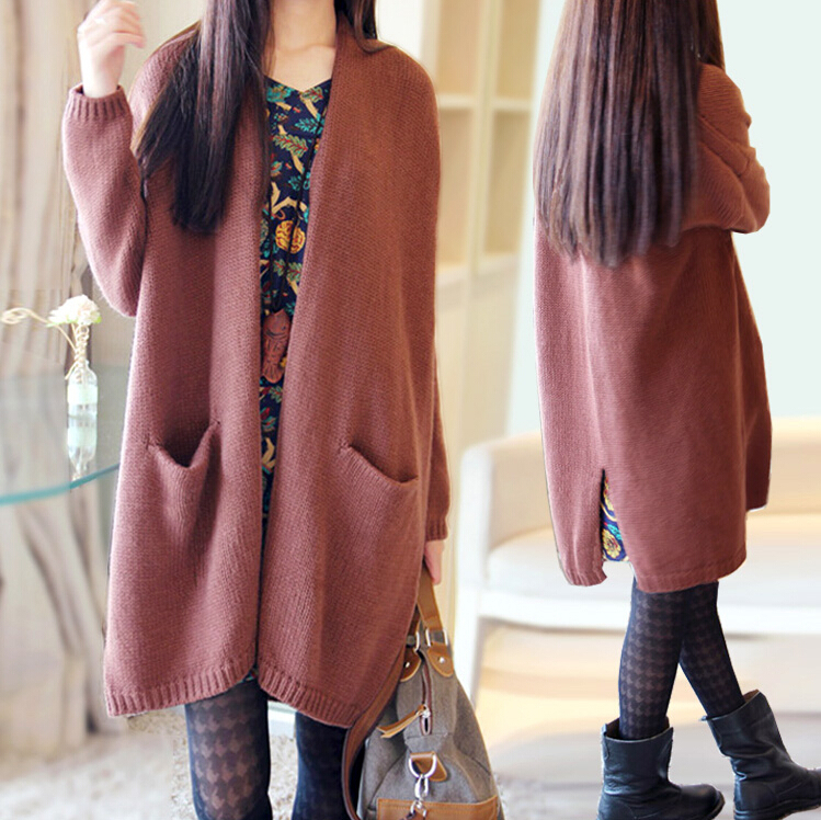 2014 autumn and winter Korean version of the bat sleeve sweater female loose coarse lines thickened long sweater women cardigan(China (Mainland))