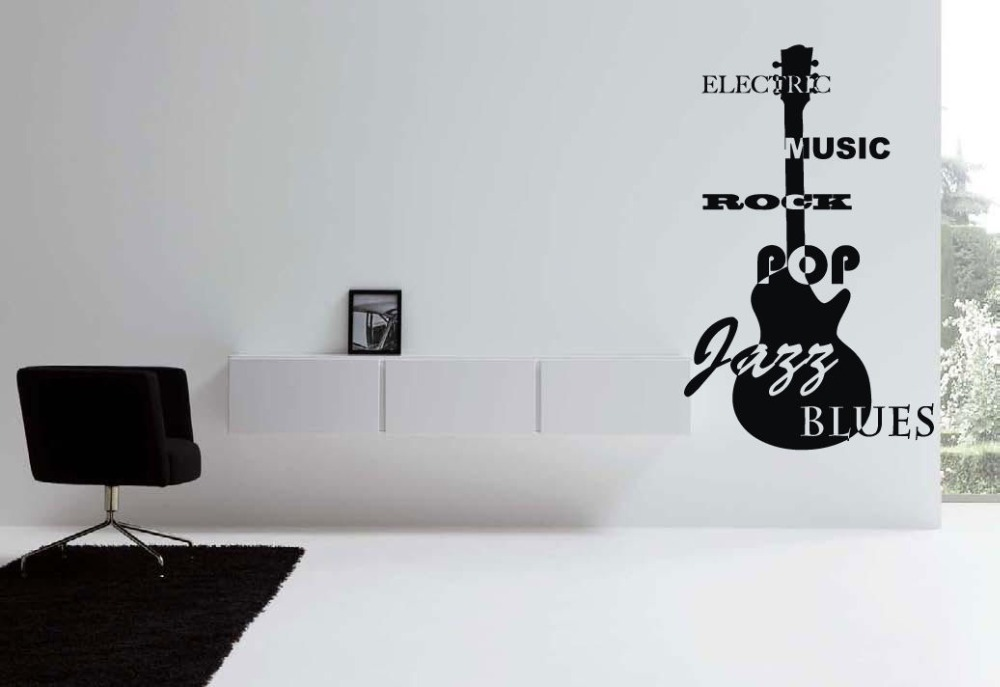 Wall Vinyl Sticker Decals Mural Room Design Art Jazz Blues Rock Guitar(China (Mainland))