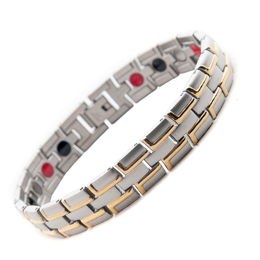 Men/Woman Healing Magnetic Stainless Steel Bracelet 4 Health Care Elements(Magnetic,FIR,Germanium,Ion) Gold Bracelet Hand Chain(China (Mainland))