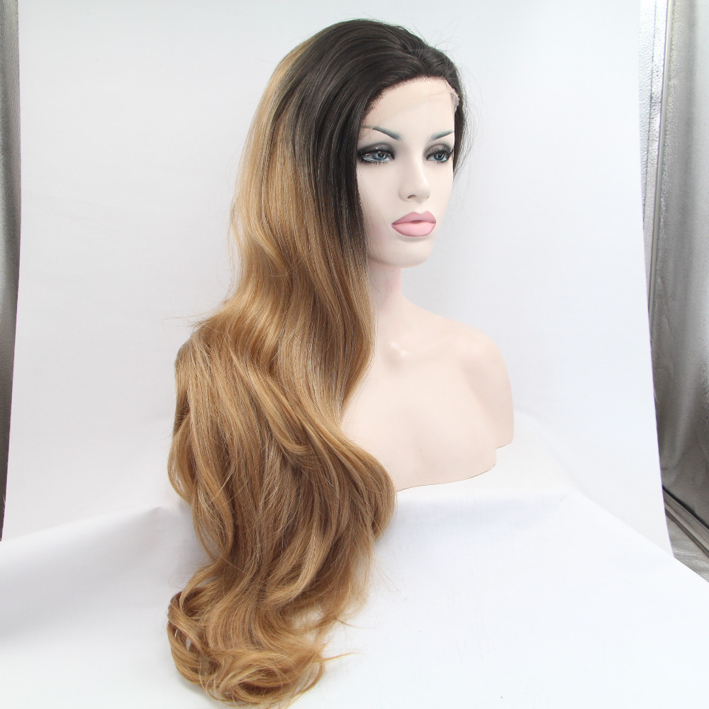 Long Wavy Heat Resistant Hair Wig Fashion Dark Root Brown Blonde Ombre Wig Celebrity Synthetic Lace Front Wig Natural(China (Mainland))