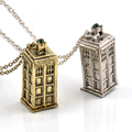 Vintage Jewelry Doctor Who 3D Antique Silver Bronze Tardis Police Box Pewter Tall Long Chain Pendant