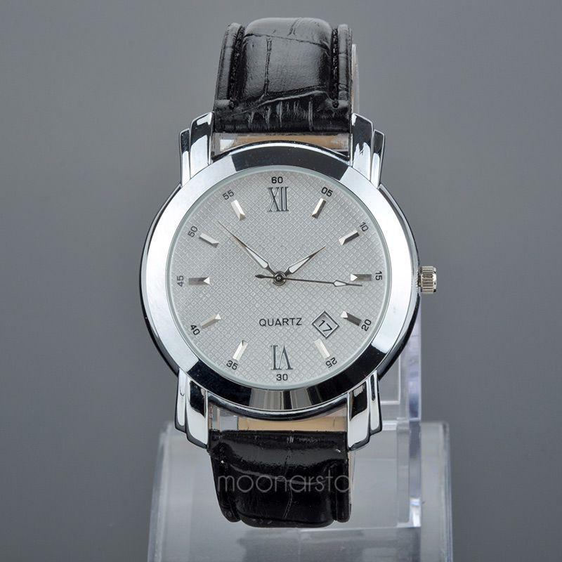 Горячая большое лицо роскошный стиль мужские часы кварцевые наручные часы с пу кожаный ремешок наручные часы 2 цветов relogio MPJ584 # M1