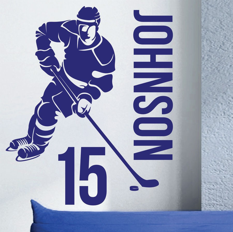 HOCKEY PLAYER custom name wall stickers home decor home decoration for boy's room wall decors wall poster wall pictures n49(China (Mainland))
