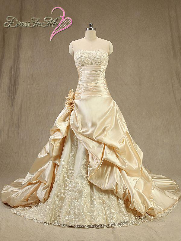 Champagne Wedding Dresses A Line : Aliexpress buy glamor champagne satin a line wedding