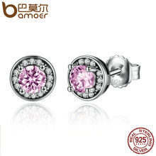 BAMOER New Arrival 100% 925 Sterling Silver Pink Stone Round Push Back Stud Earrings for Women Fashion Jewelry SCE023-1L(China (Mainland))