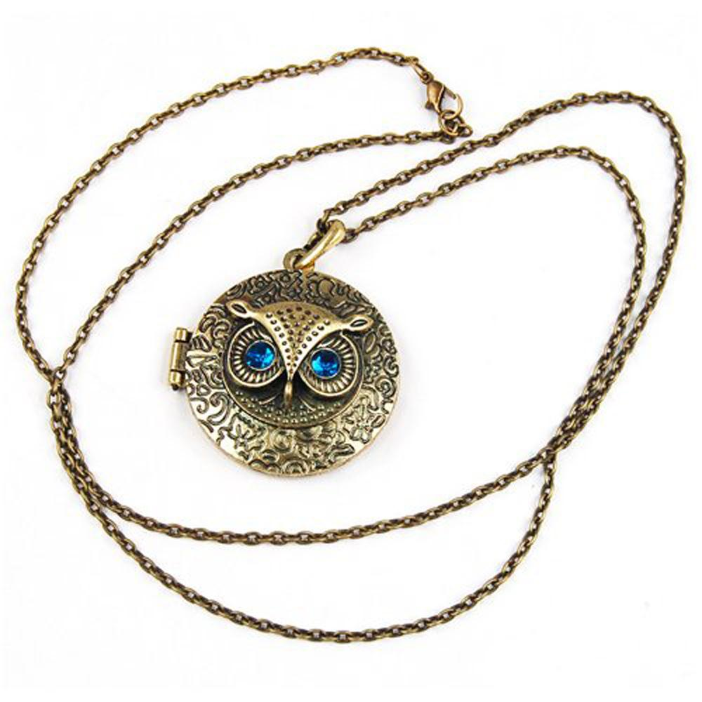 US Fast Shipping Antique Vintage Brass Owl Locket Long Pendant Necklace with Blue Zircon Eye Gift(China (Mainland))