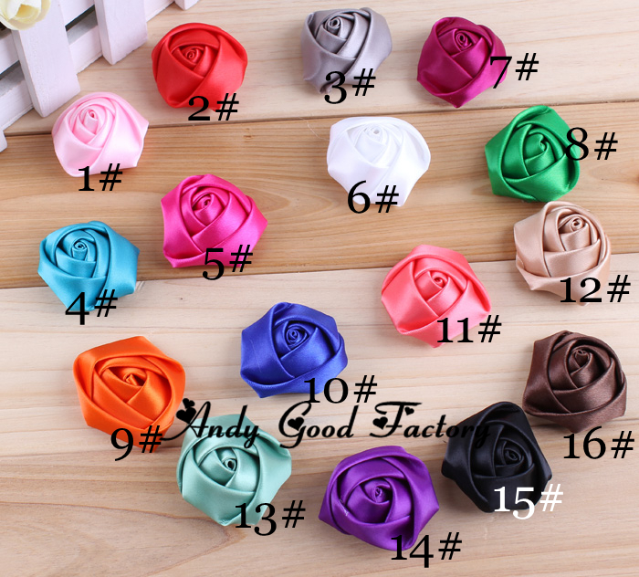 Wholesale DIY Hot Mini Satin Rose Flatback FLowers Make Baby Headbands Children Girls Hair Clip Accessories 200pcs FL052(China (Mainland))