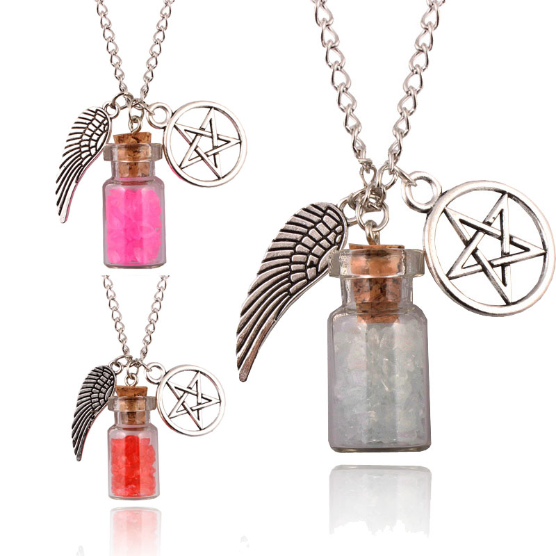 Hot 7 Styles Retro Handmade Angel Wing Pentagram Glass Wishing Bottle Pendant Supernatural Protection Chain Women Necklace(China (Mainland))