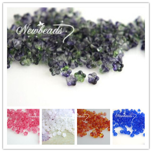 """4*6MM 10Mixed Colors """" Wax apple flower Czech Crystal Glass Bead Jewelry Loose Beads - lia DIY jewelry accessory store"""