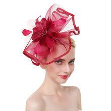 Elegant Fascinators Pink Red Wedding Bride Headwear for Women Linen Mesh Vintage Ladies Church Dress Decor Sinamay Derby Hats(China)