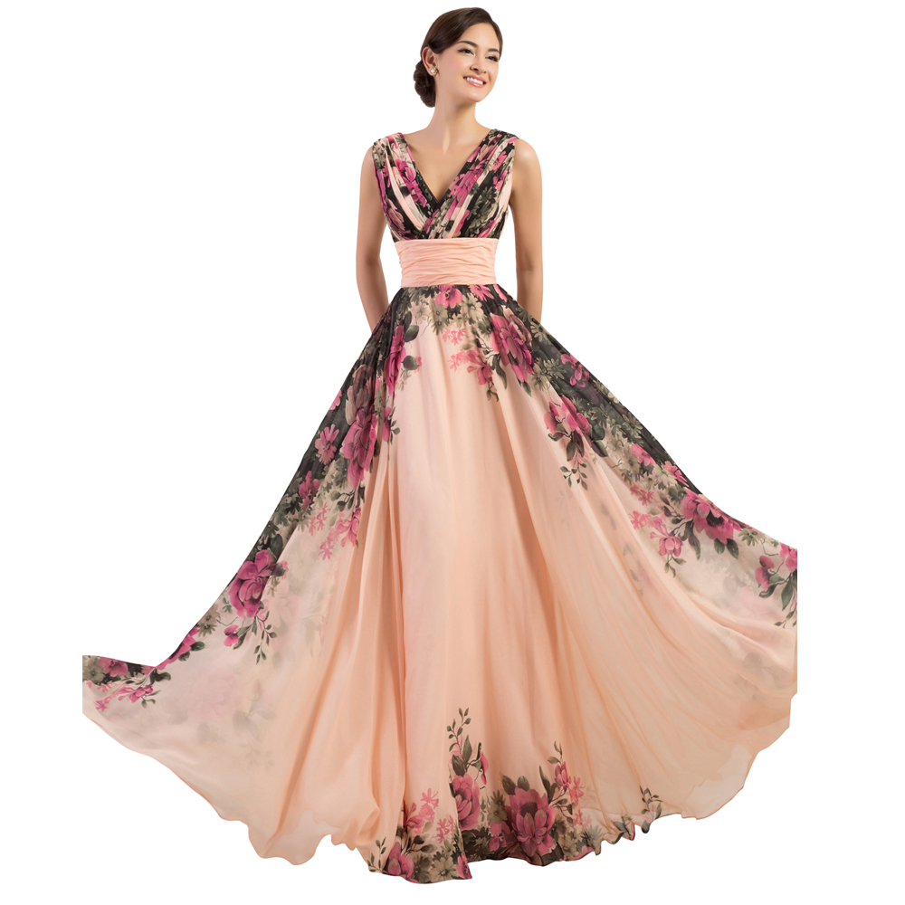 3 Designs Grace Karin Stock One Shoulder Flower Pattern Floral Print Chiffon Evening Dress Gown Party Long Prom dresses 2016(China (Mainland))