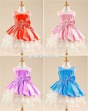 2016 New Fashion Toddler Baby Girls Kid's Bow Knot Tutu Layered Princess Party Drama Dance Prom Dress(China (Mainland))