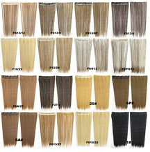 clip in on synthetic straight hair extension with 5 clips slice hairpieces 100kinds of colors available 60cm 130grams 10pcs/lots(China (Mainland))