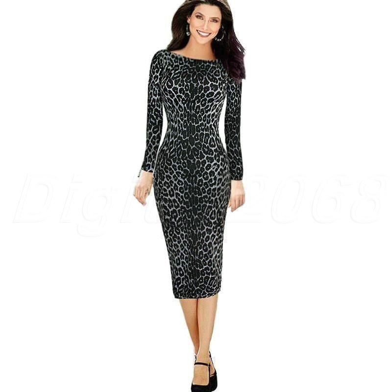 Summer Women Sexy Long Sleeve O-Neck Leopard Zipper Tunic Bodycon Club Casual Midi Pencil Dress - Digital2068 store