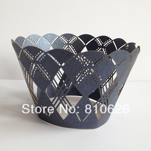 120pcs Free shipping Laser cut Navy Blue Argyle Laser Cut Wedding Cupcake Wrappers,Baking cups for cupcakes,Cupcake boxes(China (Mainland))
