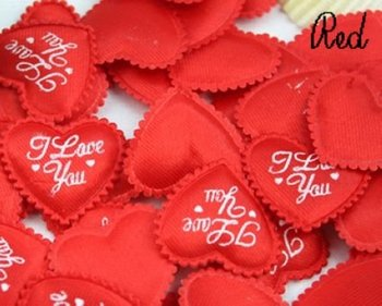 Free Shipping 500pcs/lot Valentine Wedding supply Padded Heart Applique Craft Red beatiful love ornament gift