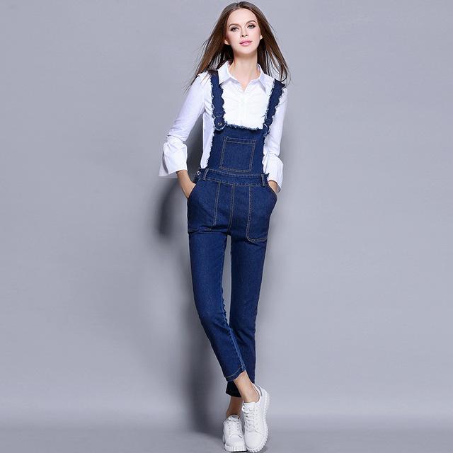 Мода 2016 осень женщины одежда костюм белый длинный flare рукавом топ + теленок длина Джинсовые комбинезон брюки из двух частей набор Q2307