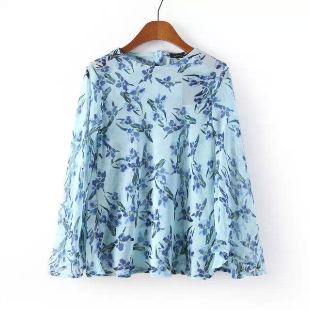 2015 New European Popular Chiffon Blouse Tops Blue Hummingbird Printing Short Chiffon Casual Shirt(China (Mainland))