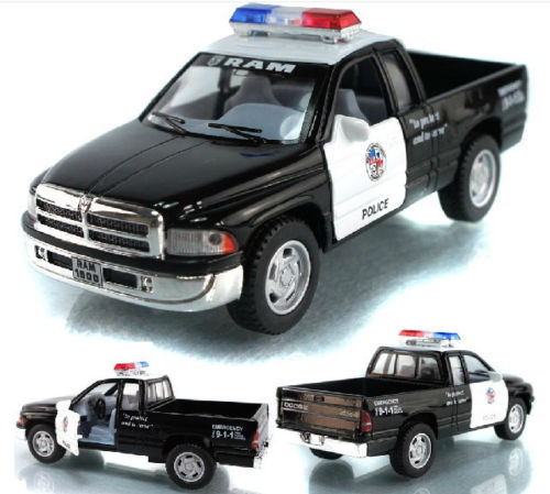 Candice guo! Hot sale Scale 1:44 KINSMART Dodge ram police car alloy model pull back pickup truck 1pc(China (Mainland))