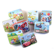 24 Pcs/set Cartoon Tin Box Wooden Puzzle Toys For Children,Cute Early Education Kids Puzzle Toys For Educational Toys(China (Mainland))