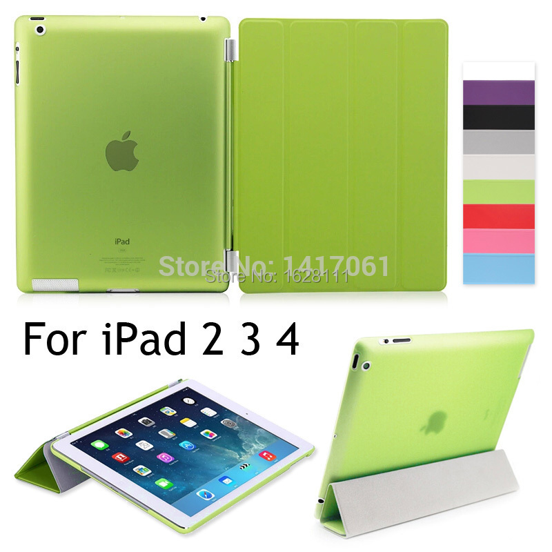 Free shipping PU Leather Slim Magnetic Front Smart Cover Skin + Hard PC Back Case For Apple iPad 2 3 4(China (Mainland))