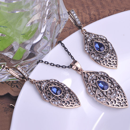 Royal Elegant Antique Gold Jewelry Sets Turkey Colares Brincos Blue Glass Vintage Necklace Casamento Ruby Jewellery Lot Hot Sale(China (Mainland))