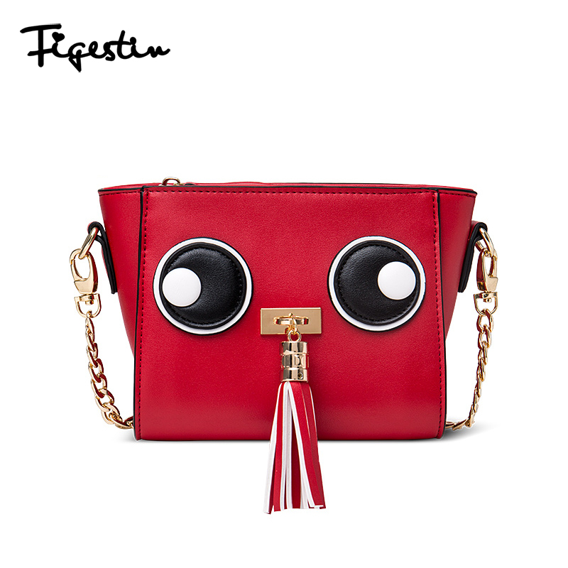 Figestin 2016 New Girls Messenger Bag Woman Crossbody Bags Black Cartoon Leather Flap Red Small Shoulder Bags For Sale Summer(China (Mainland))