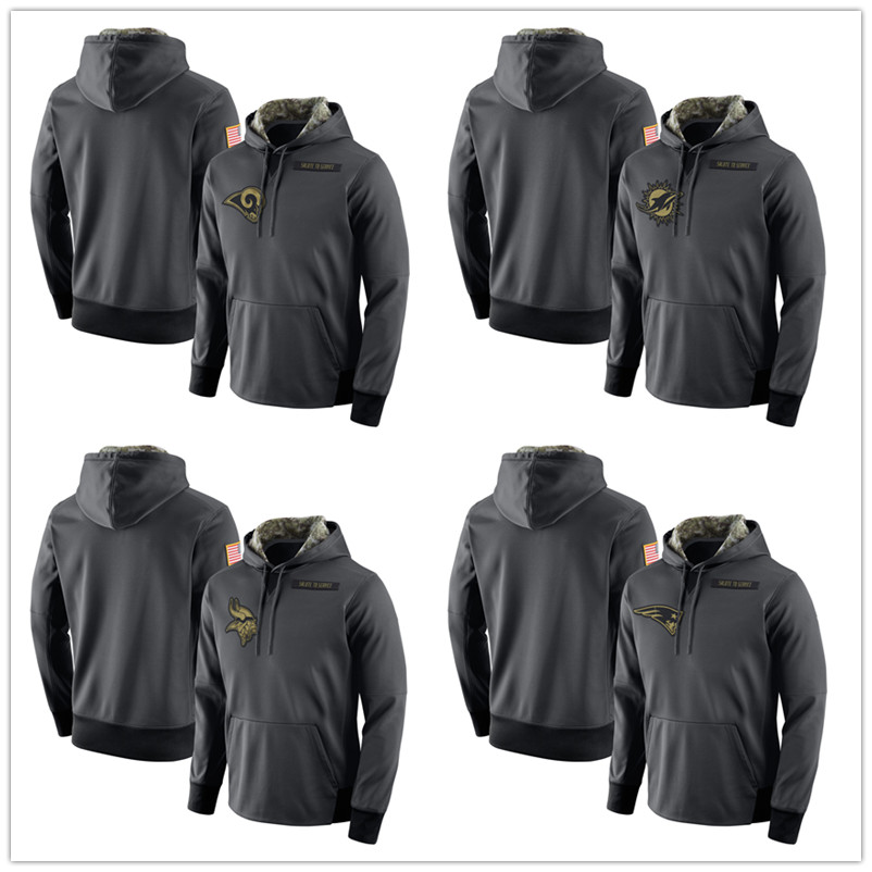 2016 Men's Todd Gurley Jarvis Landry Stefon Diggs Julian Edelman Anthracite Salute to Service Player Performance Hoodie(China (Mainland))
