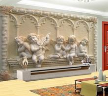 Flying Angel Baby Religion Painting Vinyi Wallpaper 3D Flooring Wall Household Mural Rolls for Livingroom Hotel Mall Bedroom(China (Mainland))