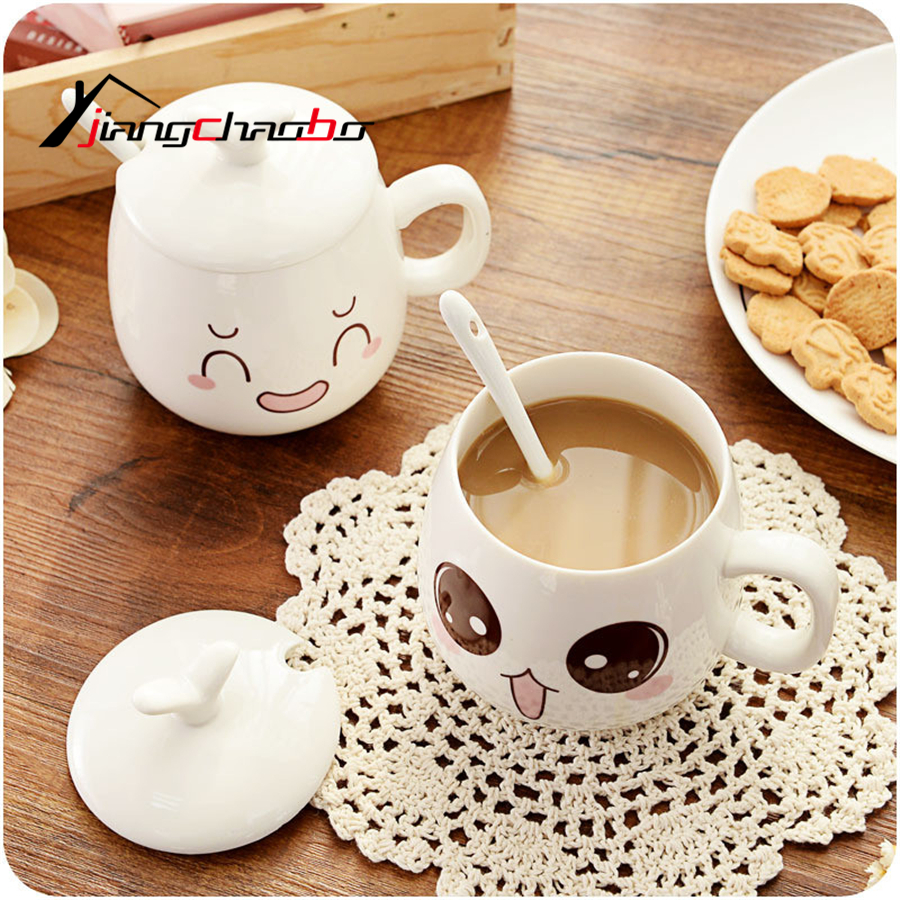 Hot Sale With Cover With A Spoon Suit Originality Cup Lovely Bone China Cup Mug Coffee Cup Free Shipping Ceramic Cup(China (Mainland))