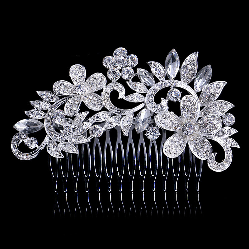 2015 flower crystal wedding hair comb zinc alloy metal hair pins silver Plated wedding hair Accessories bridal women mariage(China (Mainland))