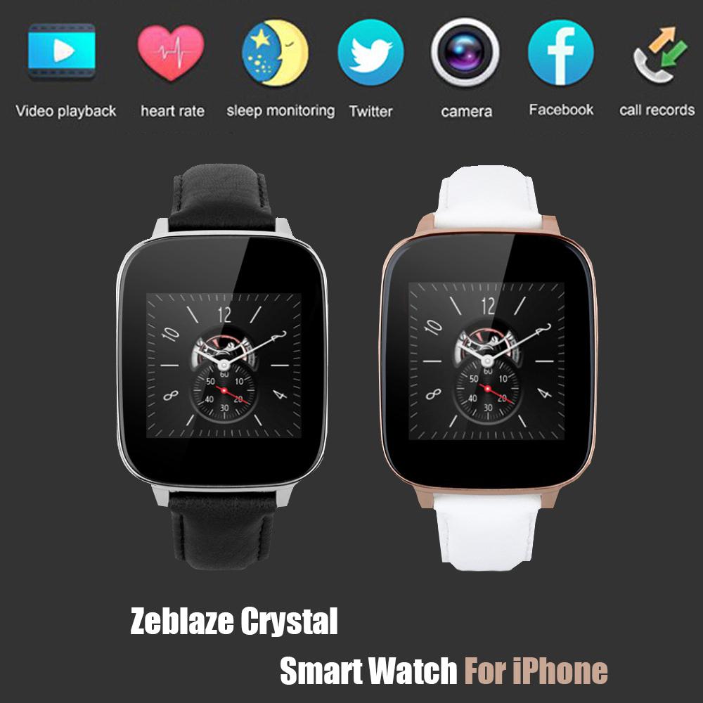 Zeblaze кристалл изогнутые 1.54 дюймов IPS 3D HD экран смарт часы MTK2502 HRM настоящее пульса Bluetooth 4.0 ремень из натуральной кожи