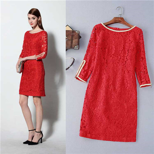 runway dress 2016 spring american apparel elegant lady dress women designer clothes brand cloth china heavy lace red black dress(China (Mainland))