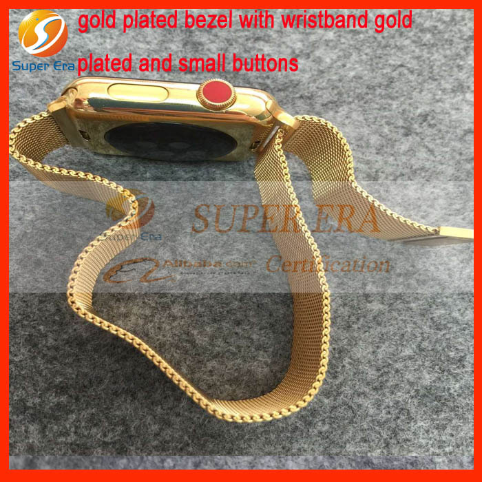 gold plated wristband for apple watch watch strap with gold plated bezel frame and small buttons luxury perfect(China (Mainland))