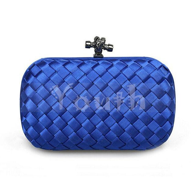 B и V соломы-соткан атлас сумочка роскошь вязание шотландка сцепление люкс вечернее мешок веревка ну вечеринку портмоне - G505