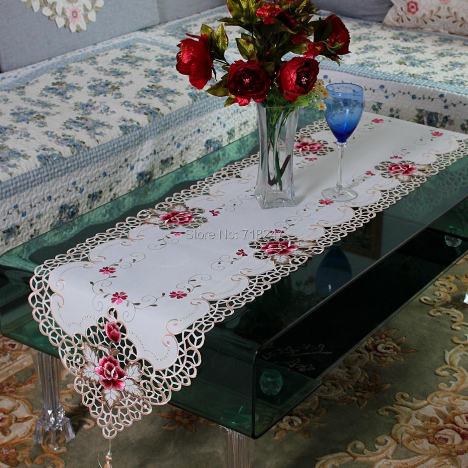 New Hot Sale Elegant Polyester Embroidery Table Runner Embroidered Rose Cutwork Table Cloth Linen Covers Runners XT1017(China (Mainland))