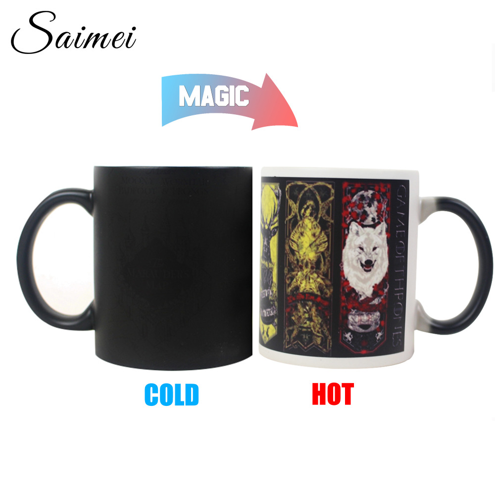 Saimei Color Change Mug Black Heat Reveal Ceramic Mugs Temperature Sensing Coffee Mugs with Handle Customize Gift With Box(China (Mainland))