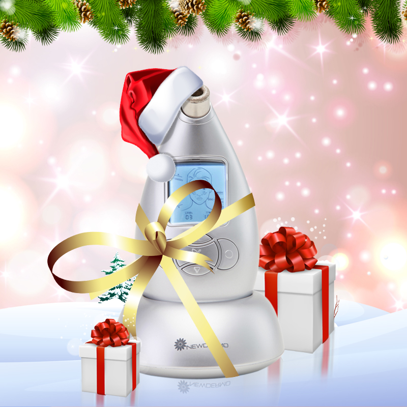 Silver New Arrival Christmas Gift NEWDERMO Hot Diamond Microdermabrasion System Dermabrasion Machine Face Massage Peeling(China (Mainland))