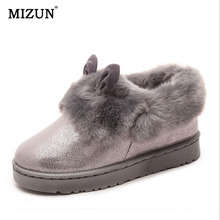 2015 nuevos invierno nieve botas mujeres zapatos impermeables lindo orejas peludas botas planas con redondo a294(China (Mainland))